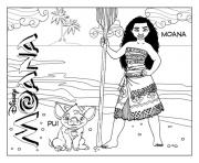 Printable Princess Moana Waialiki and Pui Pig  coloring pages