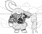 Printable moana and maui  coloring pages