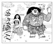 Printable Moana and Maui disney  coloring pages