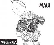 Printable maui strong man from moana disney  coloring pages