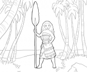 Printable moana disney in the forest  coloring pages