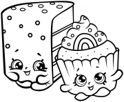 Printable cute shopkins cakes coloring pages
