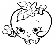 Printable shopkins apple smile cute girls coloring pages