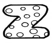 Printable bubble letter z coloring pages