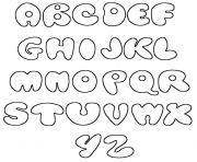 Printable bubble letters az simple coloring pages