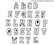 Printable graffiti alphabet simple letters coloring pages