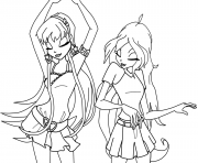 stella and bloom dancing winx club coloring pages