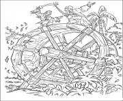 Print they are figthing at waterwheel pirates of the caribbean coloring pages