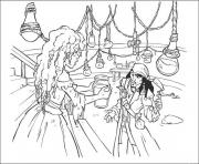 Print princess gives jack some water pirates of the caribbean coloring pages