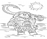 Printable maui from moana disney  coloring pages