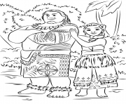 Printable tui and sina from moana disney  coloring pages