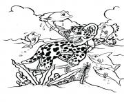 Print The leopard hunter a4 coloring pages