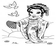 Printable Japanese kioko a4 coloring pages