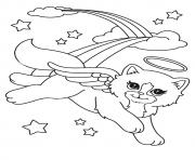 Print beautiful cat angel a4 coloring pages