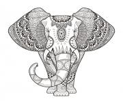 Printable elephant for adult hard difficult zen anti stress animal coloring pages