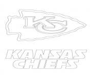 Print kansas city chiefs logo football sport coloring pages
