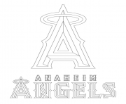 Print anaheim angels logo mlb baseball sport coloring pages