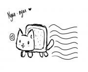 Print black and white nyan cat cute coloring pages