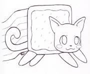 Print nyan cat by kitty coloring pages
