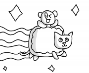 Print nyan cat with baby nyan cat coloring pages