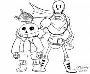 sans and papyrus by dragonfire1000  coloring pages