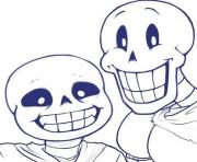sans and papyrus undertale  coloring pages