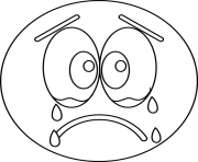 Print sad cry emoji coloring pages