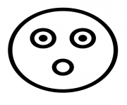 Printable Flashed emoji face outline coloring pages