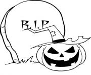 Print rip gravestone pumpkin halloween coloring pages