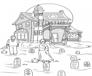 Print spooky haunted house halloween coloring pages