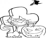 Print black cat and pumpkin winking in front of tombstone halloween coloring pages