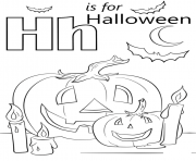 letter h is for halloween coloring pages