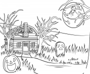 Print haunted house halloween coloring pages
