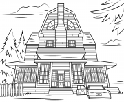 Print scary haunted house halloween coloring pages