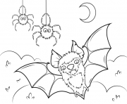 Print bat and spiders halloween coloring pages