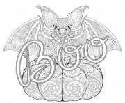 Printable adult halloween zentangle bat coloring pages