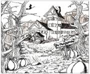 Printable halloween adult haunted house and pumpkins coloring pages