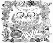 Printable adult halloween zentangle owl coloring pages