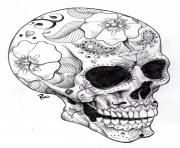 Printable adult halloween sugar skull 2 coloring pages