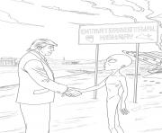 Print donald trump extraterrest meeting coloring pages