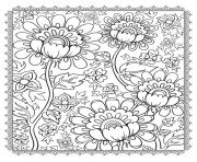 Printable adult magnificient flowers coloring pages