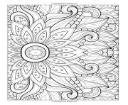 Printable adult flower with many petals coloring pages