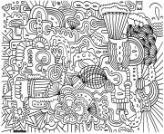 Printable adult doodle art doodling 1 coloring pages