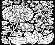Printable adult flowers black background coloring pages