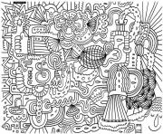 Printable adult doodle art doodling 2 coloring pages