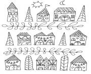 adult zen anti stress simple houses  coloring pages