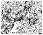 Printable adult zen anti stress face vegetation  coloring pages