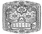 Printable adult zen anti stress skull head antistress  coloring pages