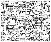 zen anti stress to print little robots  coloring pages