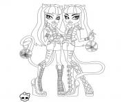 monster high meowlodie et purrsephone coloring pages